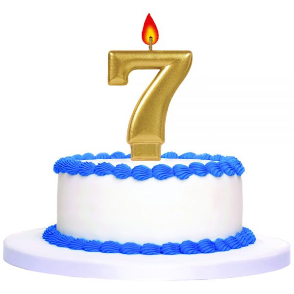 Gold Number 7 Birthday Cake Topper Candle 'J0F5
