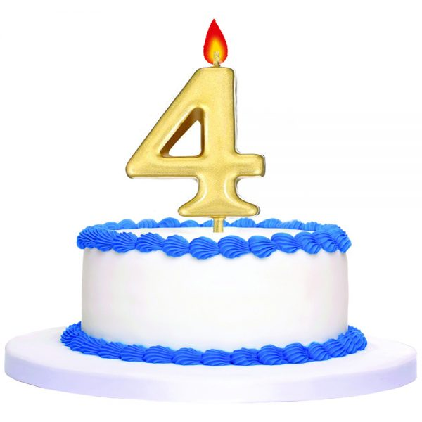 Gold Number 4 Birthday Cake Topper Candle 'EP05